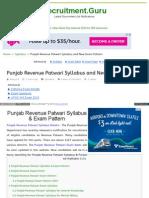 Www Recruitment Guru Syllabus Punjab Revenue Patwari Syllabu
