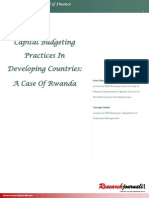 Capital Budgeting Practices in Developing countries