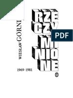 Górnicki, Wiesław - Rzeczy Minione – 1983 (Zorg)