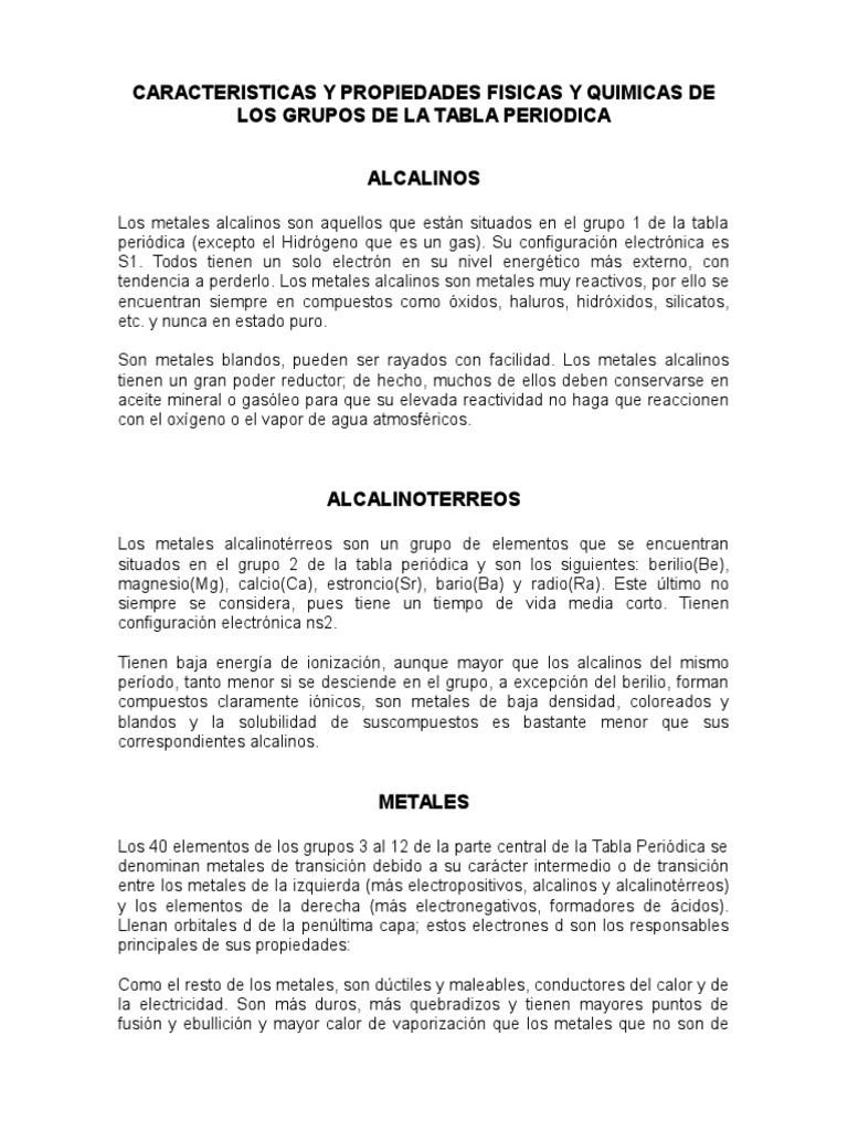 Caracteristicas y propiedades fisicas y quimicas de los grupos de caracteristicas y propiedades fisicas y quimicas de los grupos de la tabla periodica urtaz Gallery