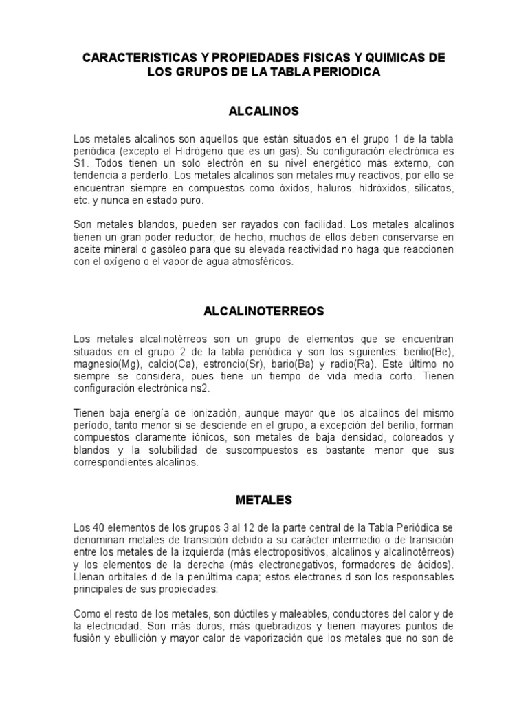 Caracteristicas y propiedades fisicas y quimicas de los grupos de la caracteristicas y propiedades fisicas y quimicas de los grupos de la tabla periodica urtaz Gallery
