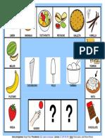 """Tablero de comunicación aumentativa """"Quiero un helado"""" con pictogramas de ARASAAC."""