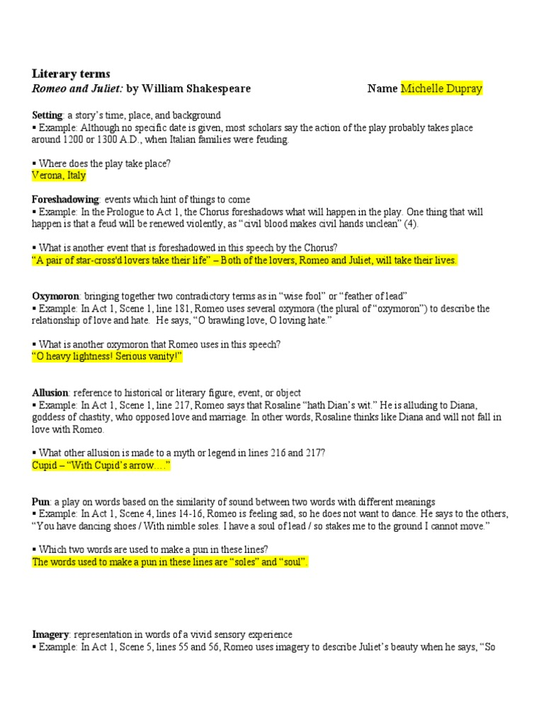 worksheet Romeo And Juliet Prologue Worksheet literary terms romeo and juliet by william