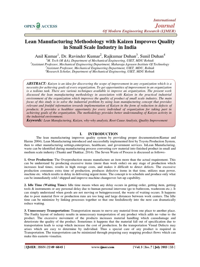 Lean Manufacturing Methodology with Kaizen Improves Quality