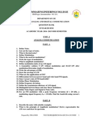CS6304-Analog and Digital Communication pdf | Frequency