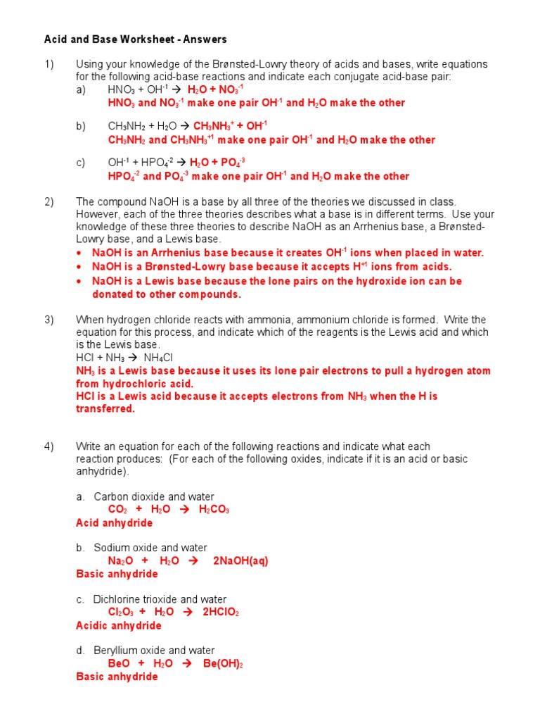 Acid and Base Worksheet 10708 Ans Key 1 Acid – Acids and Bases Worksheet Answer Key