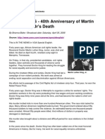 In the NEWS - 40th Anniversary of Martin Luther King Jr's Death