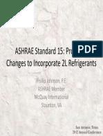 Standard 15 Proposed Changes for 2L Refrigerants