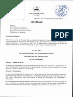 Circular Sobre Ley de Reposicion y Rectificacion de Actas Del Registro Del Estado Civil de Las Personas