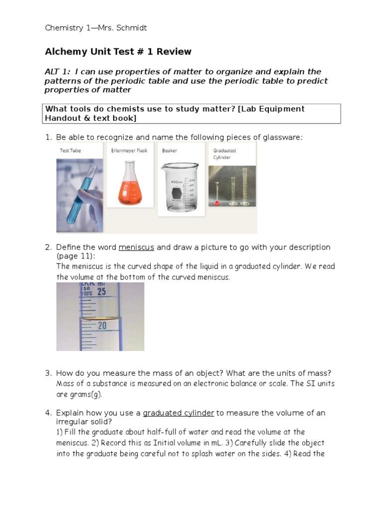 alt 1 unit 1 test study guide key chemical substances chemical elements - Periodic Table Unit Test
