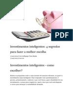 Toro Radar - Artigo - Investimentos Inteligentes , 4 Segredos Para Fazer a Melhor Escolha