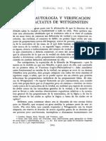 Verdad Tautologia y Verificacion en Tractatus
