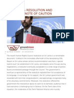 The Geneva Resolution and Politics a Note of Caution
