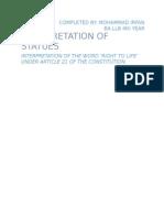 Assignment on Interpretation of Statues