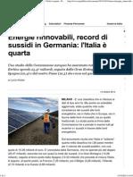 Energie Rinnovabili, Record Di Sussidi in Germania- l'Italia è Quarta - Repubblica.it