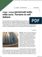 Inps- Metà Pensionati Sotto Mille Euro. Tornano Le Colf Italiane - Repubblica.it