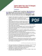 Effective Delegation Skills Tips