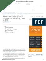 Stocks Close Higher Ahead of Earnings; S&P Posts Best Week of 2015