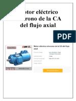 Motor Eléctrico Síncrono de La CA Del Flujo Axial