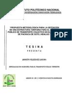 Propuesta Metodologica para la obtencion de una estructura tarifaria para el servicio publico de transporte colectivo