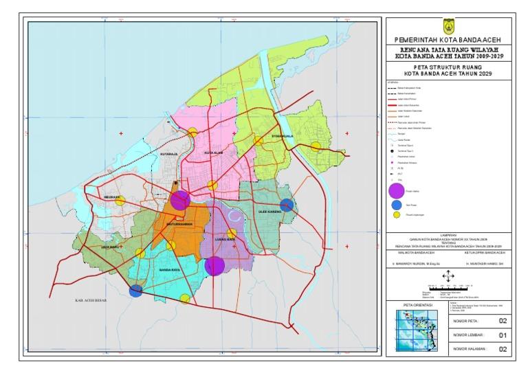 Peta Struktur Ruang Kota Banda Aceh Rtrw 2009 2029