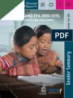 Gender and Efa 2000 2015 Unicef