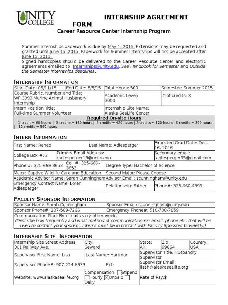 2014 2015 Internship Agreement Form Aslc Internship Learning