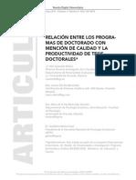 Relación entre los programas de doctorado con mención de calidad y la productividad de tesis