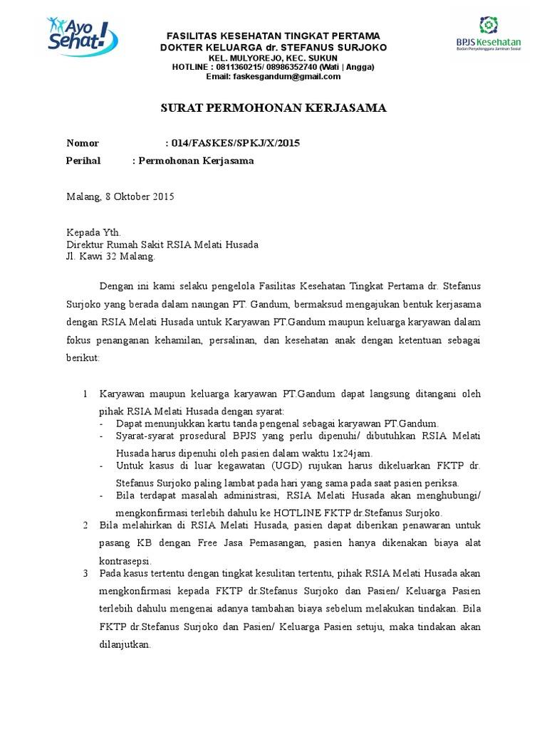 Surat Permohonan Kerjasama Melati Husada