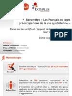 Les Français et leurs préoccupations de la vie quotidienne - Baromètre DOMPLUS 2015