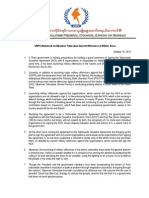 UNFC Statement on Current Tamadaw Offensives in Ethnic Areas (10 Oct 2015 -English)