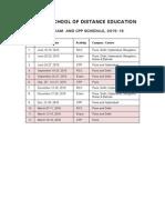 Sode Rcc Exam Schedule2015 16