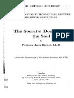 The Socratic Doctrine of the Soul - John Burnet 1916