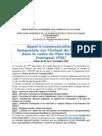 Appel à Communications Symposium sur l'Enfant dans le cadre du Plan Sénégal Emergent (PSE)