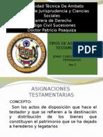 Clasificacion de Asignaciones Testamentarias ecuador