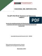 Servicio Acondicionamiento Infraestructura Fisica Seguridad Monitoreo Centro Datos SERVIR 2013 EETT