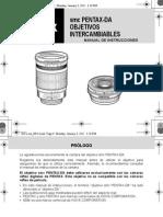 Manual Guía smc PENTAX-DA OBJETIVO INTERCAMBIABLE versión larga 2011