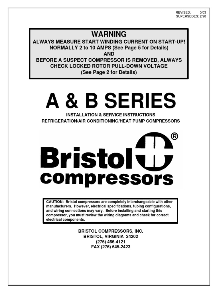 bristol changing all compressors air conditioning capacitor rh scribd com Single Phase Compressor Wiring Diagram Craftsman Air Compressor Wiring Diagram