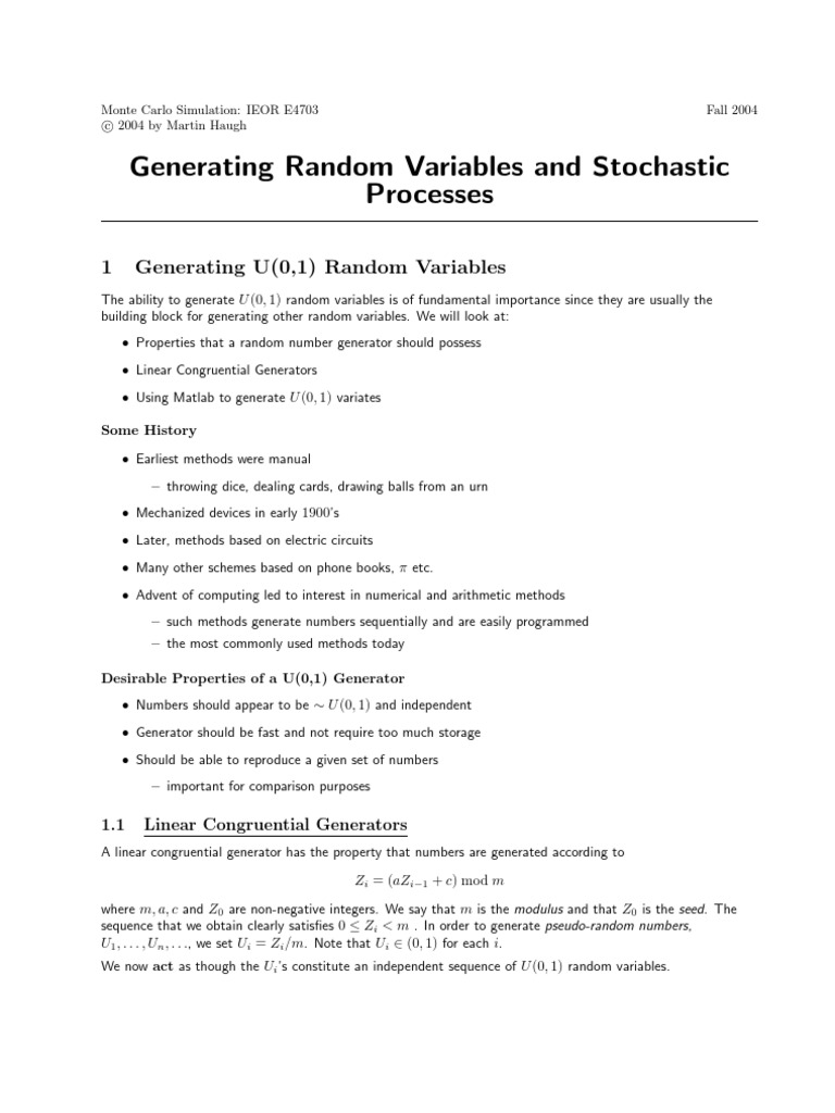 Generating Random Variables - Simulating methods