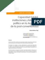 Rey Capacidad Estatal, Instituciones y Liderazgo Post Convertibilidad