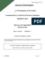 BACSTMG Communication Et Gestion Des Ressources Humaines Avant 2013 2013 RHC