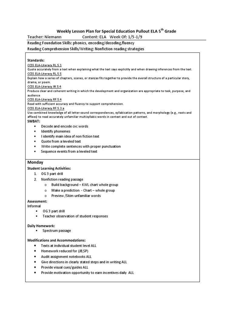 - Lesson Plans 5th Grade Sample Reading Comprehension Homework