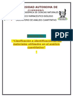 """""""Clasificación e identificación de los materiales utilizados en el análisis cuantitativo"""""""