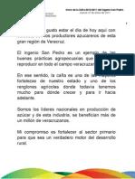 27 01 2011 Inicio de la Zafra 2010-2011 del Ingenio San Pedro