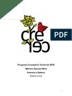 Programa Consejería Territorial Química 2016
