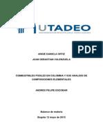 Combustibles Fosiles en Colombia y Sus Analisis de Composicion Elemental