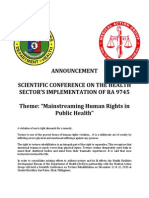 SCIENTIFIC CONFERENCE ON THE HEALTH SECTOR'S IMPLEMENTATION OF RA 9745