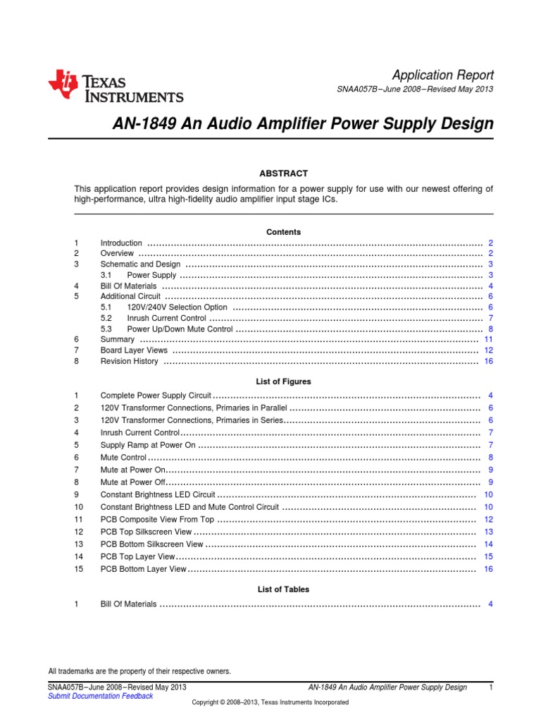 Snaa057bpdf Capacitor Amplifier Power Circuit Design With Ic Lme49810 Electronic