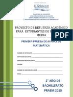 Primera Prueba de Avance de Matemtica - Segundo Ao de Bachilllerato - Praem 2015