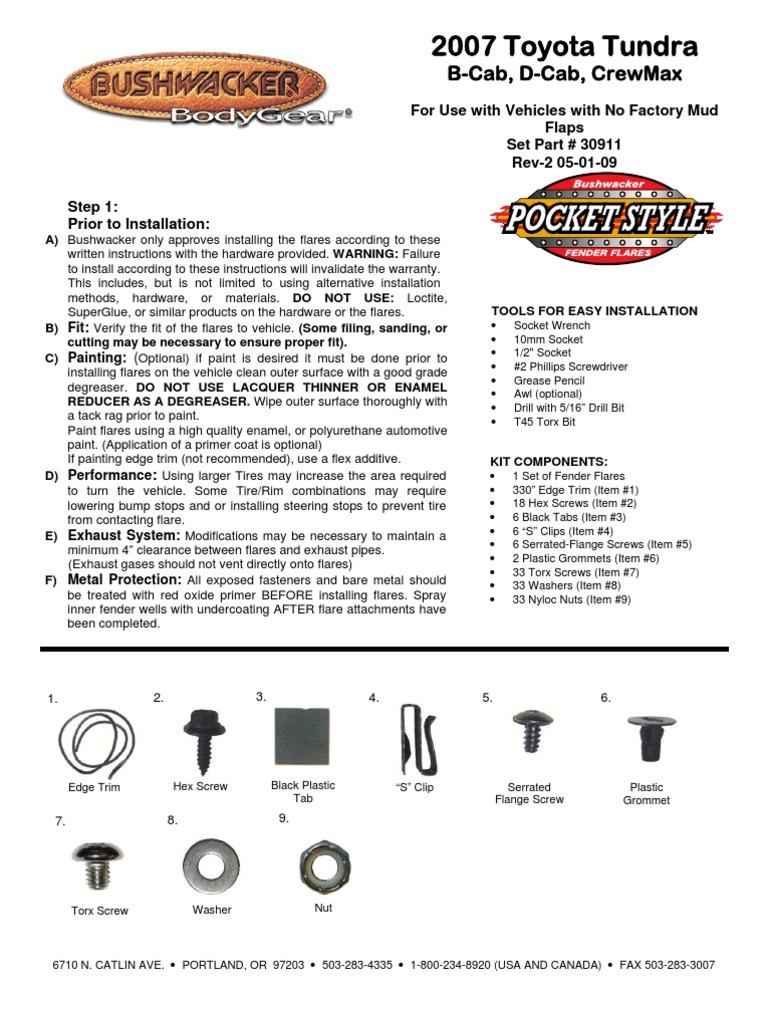 Toyota Tundra Limited >> Toyota Tundra Bushwacker Fender Flares Installation ...